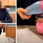 Three photo collage: one of Laurie smiling, one of her dipping a blue balloon into pink melted candy, and one of her spraying whipped cream on a plate