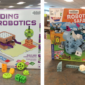 Photo collage of two new STEM kits, featuring the box and several kit pieces in orange, lime green, green, light blue, and white.